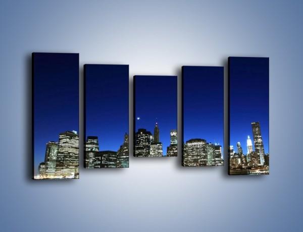 Obraz na płótnie – Nowy York wieczorem – pięcioczęściowy AM106W2