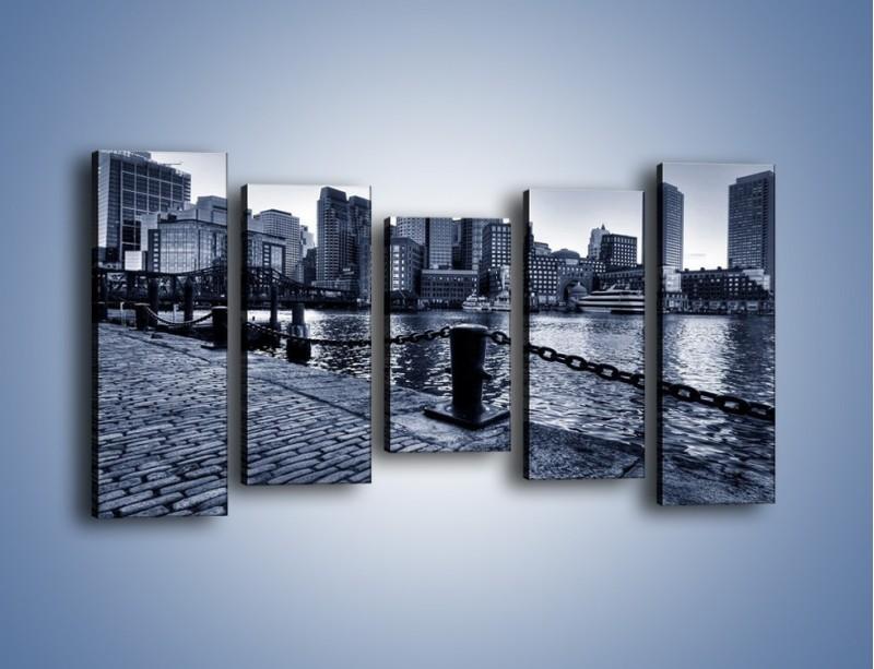Obraz na płótnie – Wybrukowana wybrzeże miasta – pięcioczęściowy AM132W2