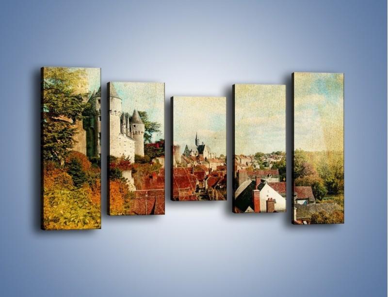 Obraz na płótnie – Zamek nad miasteczkiem w stylu vintage – pięcioczęściowy AM142W2