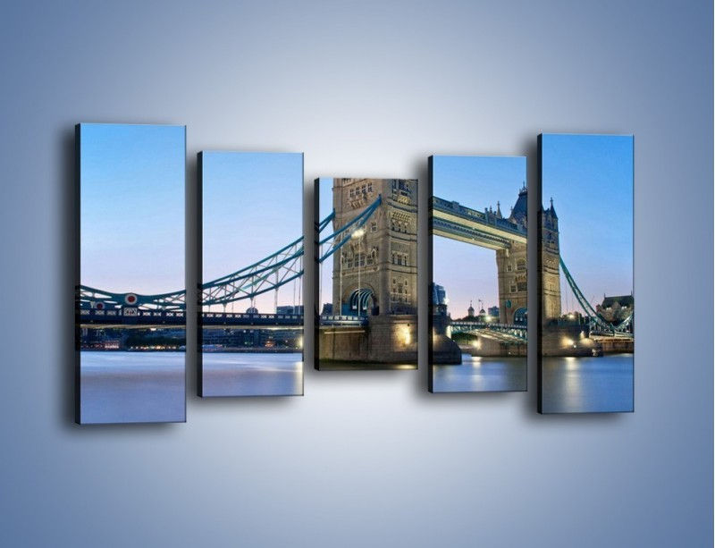 Obraz na płótnie – Tower Bridge o poranku – pięcioczęściowy AM143W2