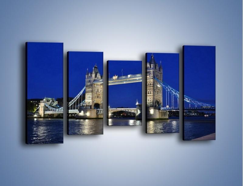 Obraz na płótnie – Tower Bridge nocą – pięcioczęściowy AM145W2