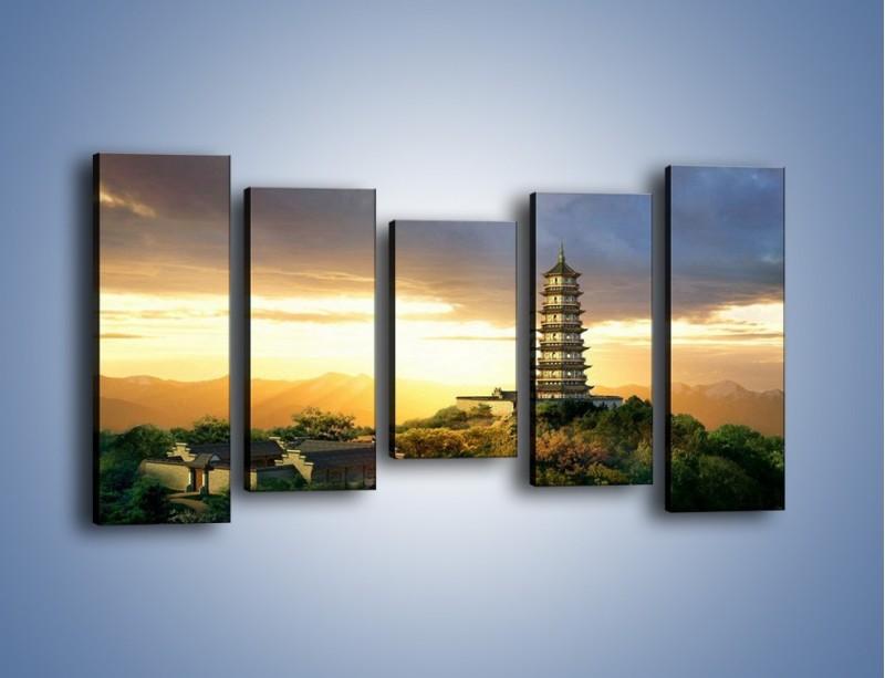 Obraz na płótnie – Azjatycka architektura o poranku – pięcioczęściowy AM151W2