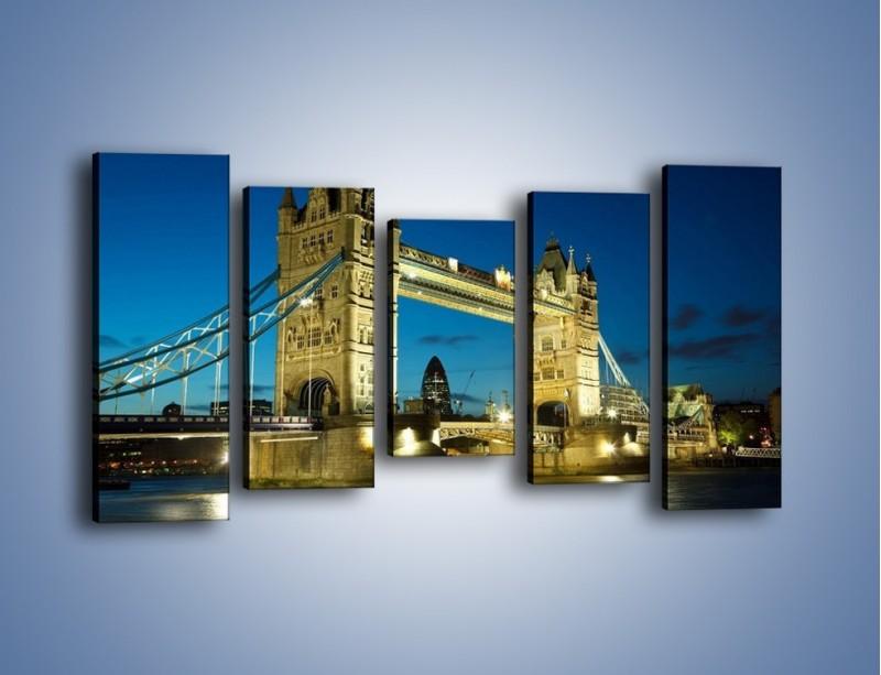 Obraz na płótnie – Tower Bridge wieczorową porą – pięcioczęściowy AM159W2