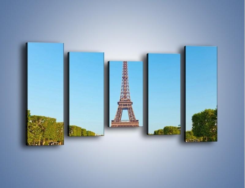 Obraz na płótnie – Wieża Eiffla pod błękitnym niebem – pięcioczęściowy AM171W2