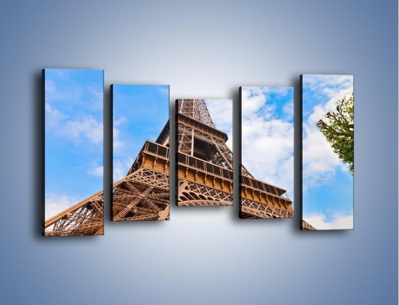 Obraz na płótnie – Wieża Eiffla pod chmurkami – pięcioczęściowy AM173W2