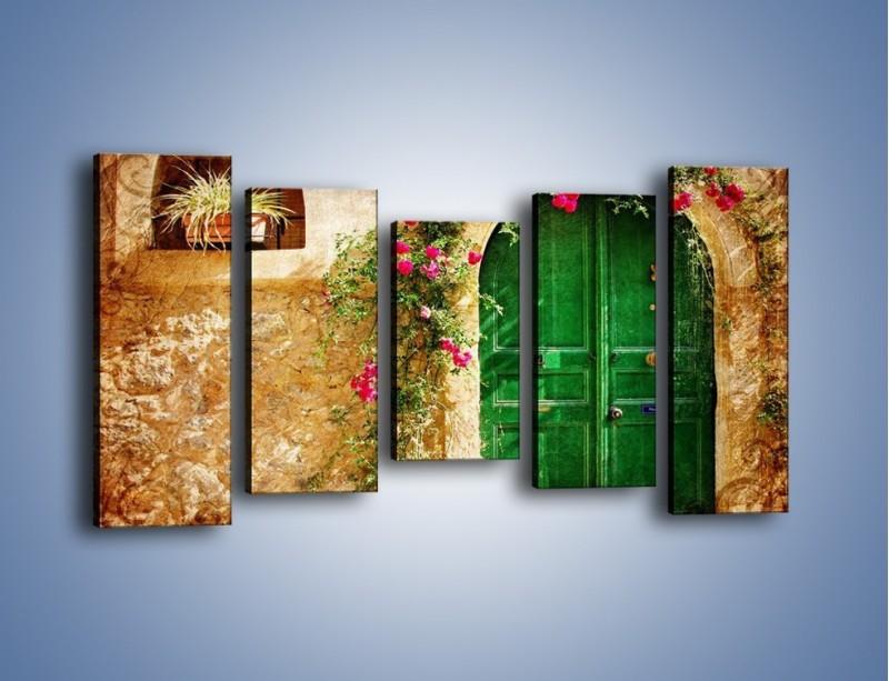 Obraz na płótnie – Drzwi w greckim domu vintage – pięcioczęściowy AM192W2