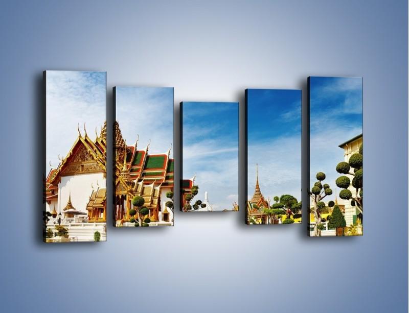 Obraz na płótnie – Tajska architektura pod błękitnym niebem – pięcioczęściowy AM197W2