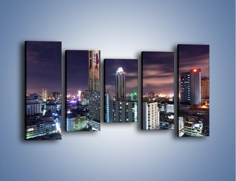 Obraz na płótnie – Duże miasto nocą – pięcioczęściowy AM202W2
