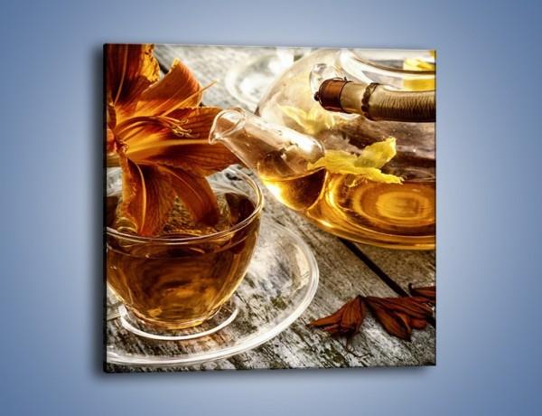 Obraz na płótnie – Kwiat zatopiony w herbacie – jednoczęściowy kwadratowy JN666