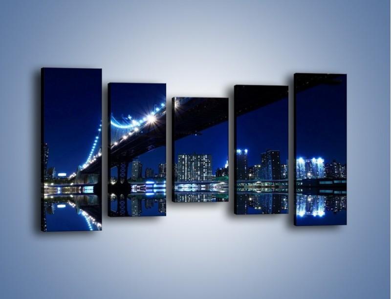 Obraz na płótnie – Oświetlony most w odbiciu wody – pięcioczęściowy AM211W2