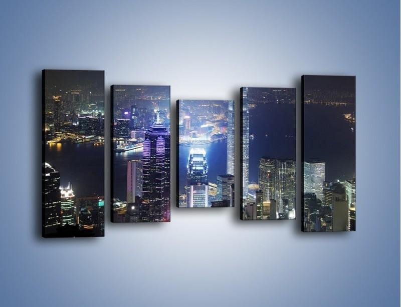 Obraz na płótnie – Miasto oświetlone nocą – pięcioczęściowy AM223W2