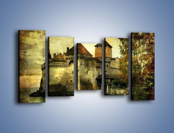 Obraz na płótnie – Średniowieczny zamek w stylu vintage – pięcioczęściowy AM233W2