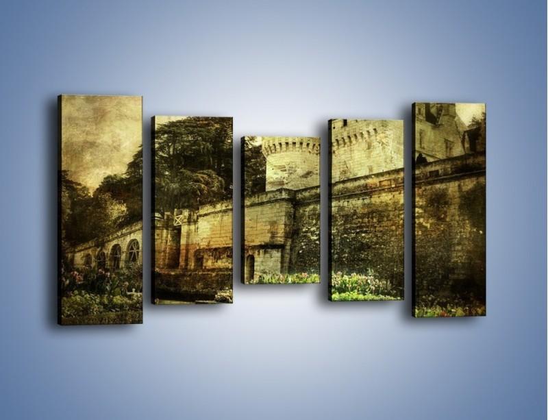 Obraz na płótnie – Zamek w stylu vintage – pięcioczęściowy AM234W2