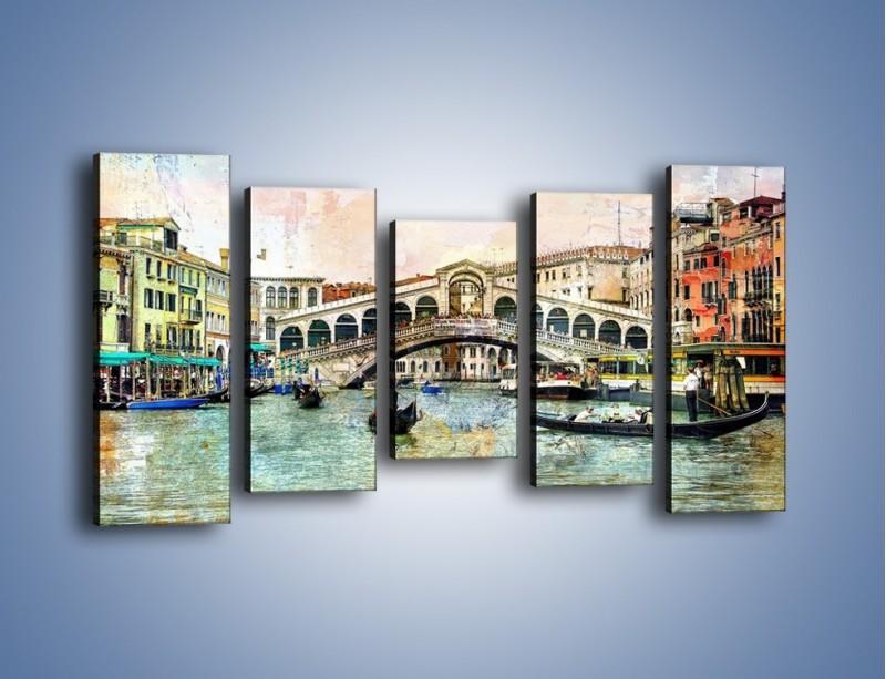Obraz na płótnie – Wenecja w stylu vintage – pięcioczęściowy AM239W2