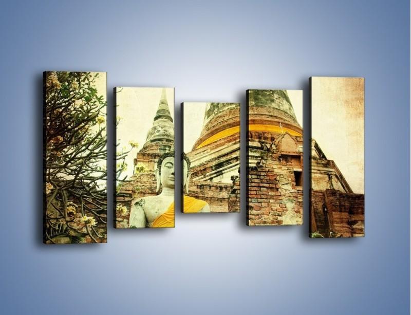 Obraz na płótnie – Tybetańska architektura w stylu vintage – pięcioczęściowy AM247W2