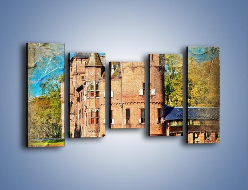 Obraz na płótnie – Zamek nad wodą w stylu vintage – pięcioczęściowy AM262W2