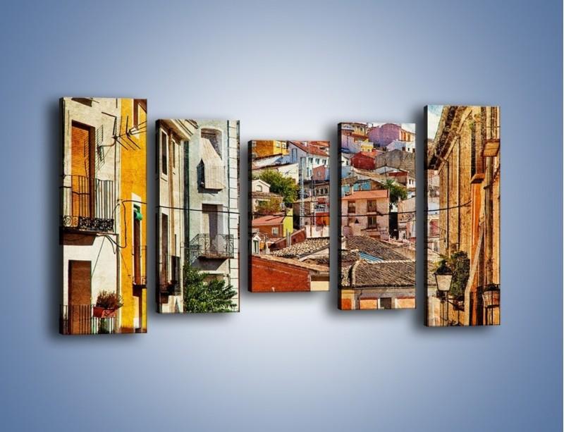 Obraz na płótnie – Kolorowe domki na wzgórzu vintage – pięcioczęściowy AM264W2