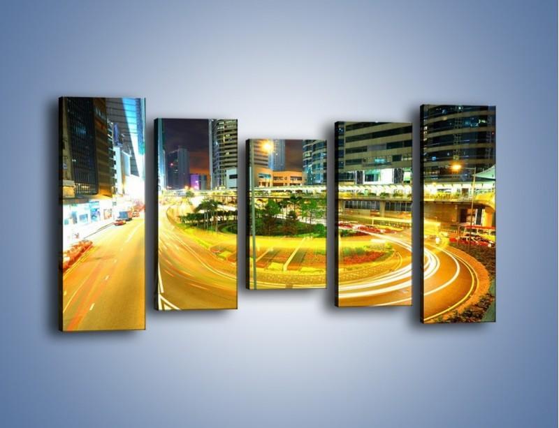 Obraz na płótnie – Światła samochodów w ruchu – pięcioczęściowy AM280W2