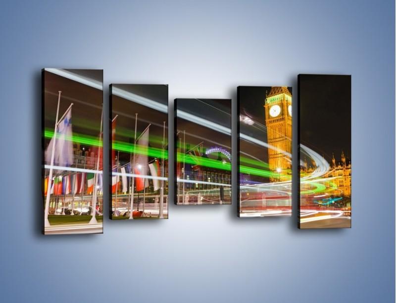 Obraz na płótnie – Światła samochodów na tle Big Bena – pięcioczęściowy AM283W2