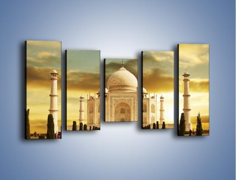 Obraz na płótnie – Tadź Mahal o zachodzie słońca – pięcioczęściowy AM285W2