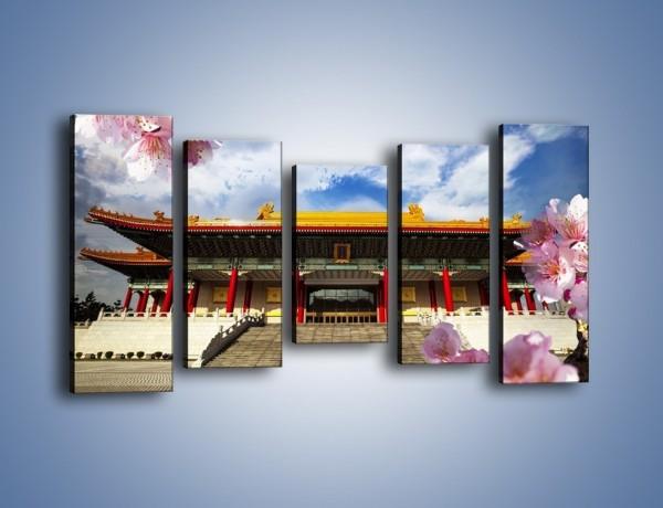 Obraz na płótnie – Azjatycka architektura z kwiatami – pięcioczęściowy AM298W2