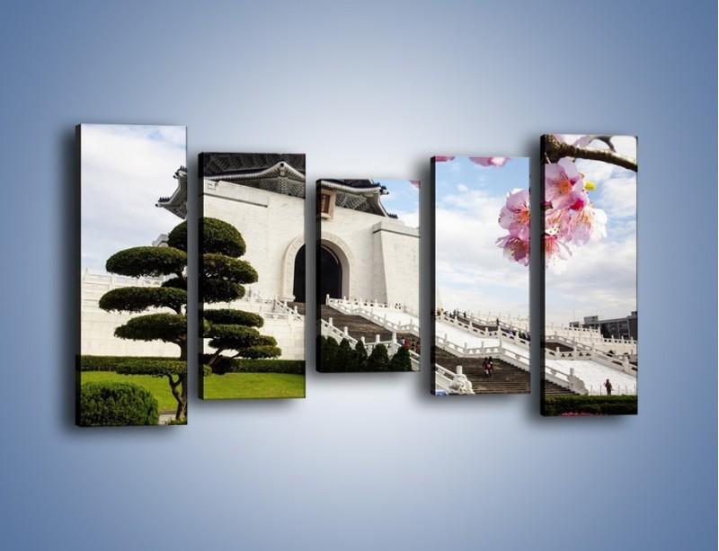 Obraz na płótnie – Azjatycka architektura – pięcioczęściowy AM299W2