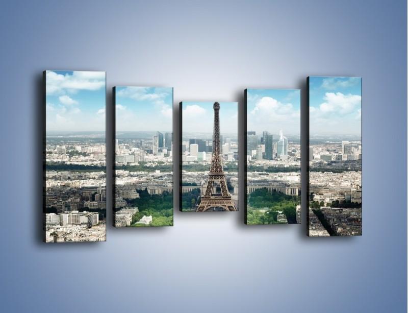 Obraz na płótnie – Chmury nad Wieżą Eiffla – pięcioczęściowy AM302W2