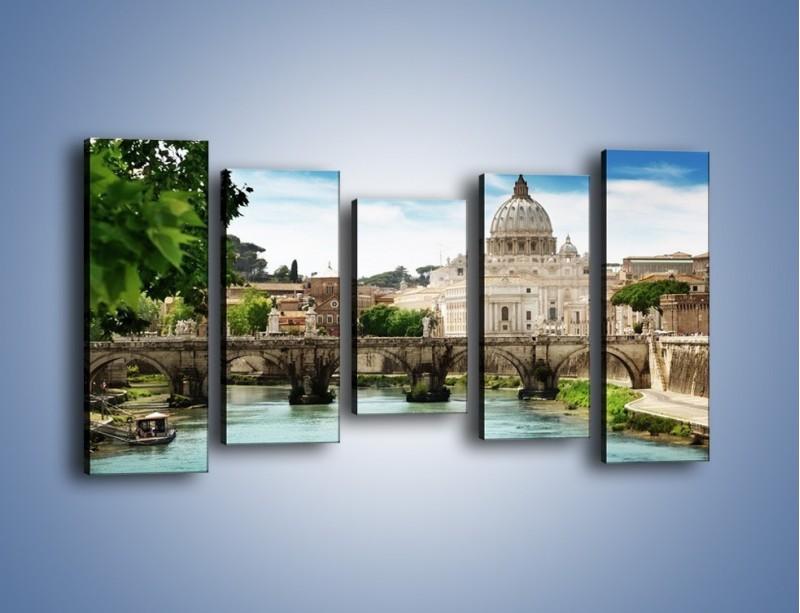 Obraz na płótnie – Rzeka Tyber na tle bazyliki – pięcioczęściowy AM303W2