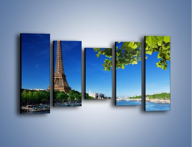 Obraz na płótnie – Wieża Eiffla w piękny dzień – pięcioczęściowy AM304W2