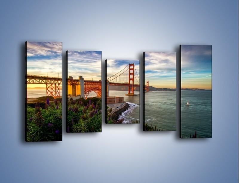 Obraz na płótnie – Most Golden Gate o zachodzie słońca – pięcioczęściowy AM332W2