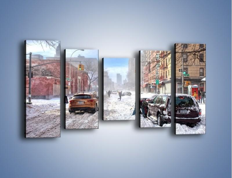 Obraz na płótnie – Zaśnieżone ulice miasta – pięcioczęściowy AM342W2