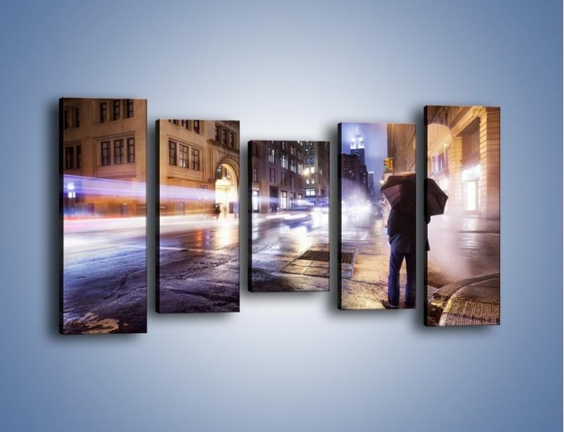 Obraz na płótnie – Deszczowa noc w Nowym Jorku – pięcioczęściowy AM343W2