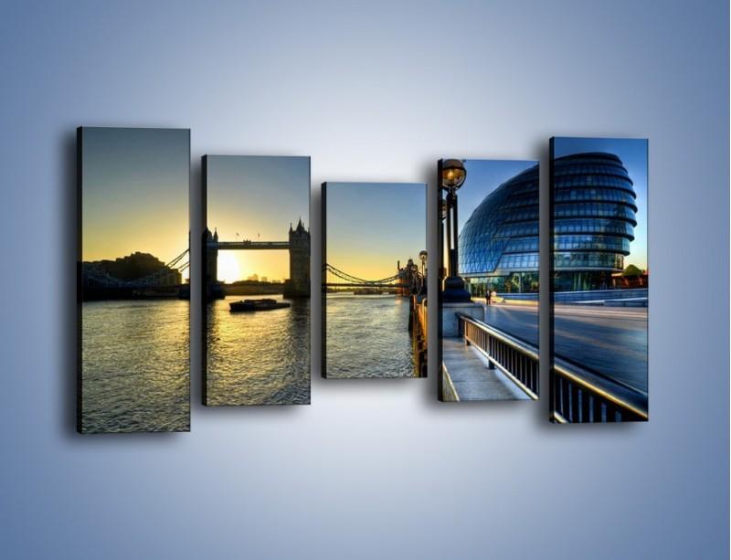 Obraz na płótnie – Londyński Tower Bridge – pięcioczęściowy AM348W2