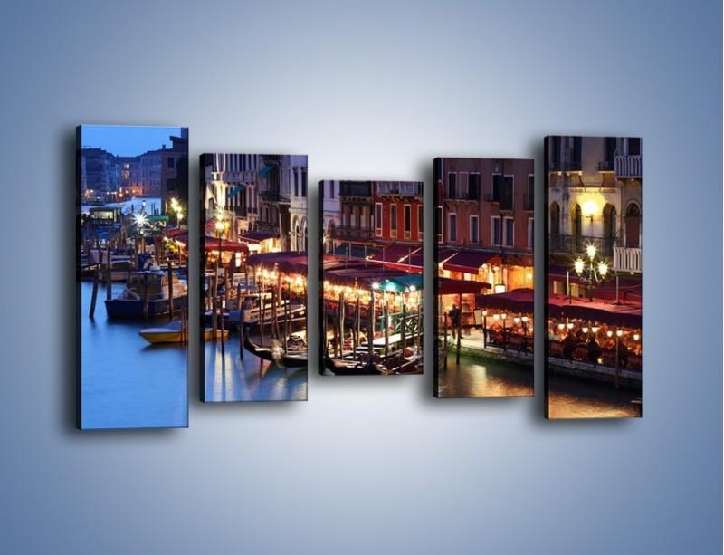 Obraz na płótnie – Wieczorowe życie w Wenecji – pięcioczęściowy AM358W2