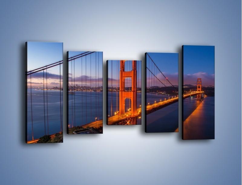 Obraz na płótnie – Rozświetlony most Golden Gate – pięcioczęściowy AM360W2