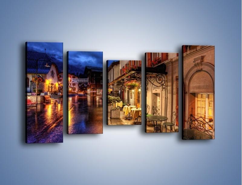 Obraz na płótnie – Romantyczne miasteczko pod Alpami – pięcioczęściowy AM368W2