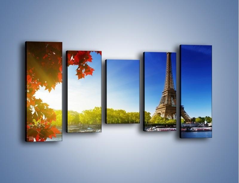Obraz na płótnie – Wieża Eiffla w piękny dzień – pięcioczęściowy AM373W2