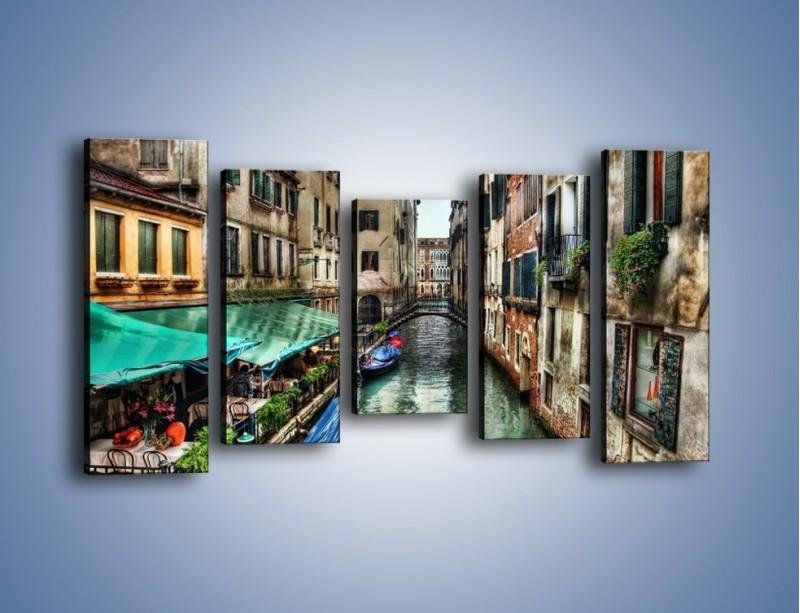 Obraz na płótnie – Wenecka uliczka w kolorach HDR – pięcioczęściowy AM374W2