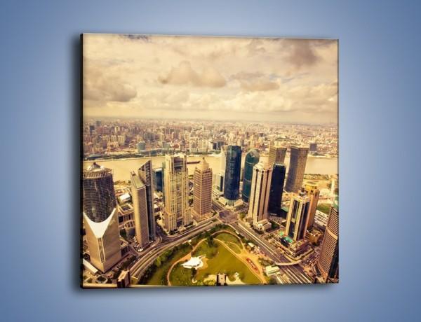 Obraz na płótnie – Miasto w pochmurny dzień – jednoczęściowy kwadratowy AM178