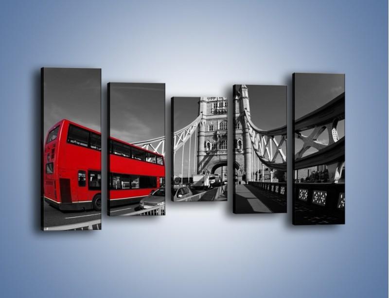 Obraz na płótnie – Tower Bridge i czerwony autobus – pięcioczęściowy AM394W2