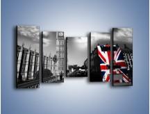 Obraz na płótnie – Big Ben i autobus z flagą UK – pięcioczęściowy AM396W2