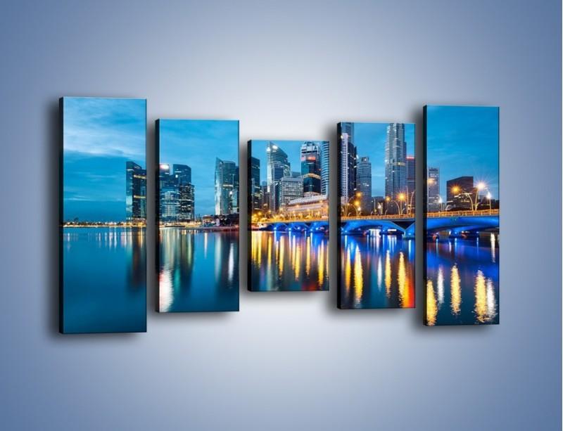 Obraz na płótnie – Kolorowe światła Singapuru – pięcioczęściowy AM408W2