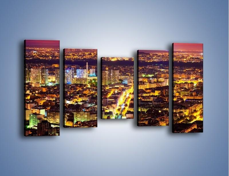 Obraz na płótnie – Kolory Paryża nocą – pięcioczęściowy AM419W2