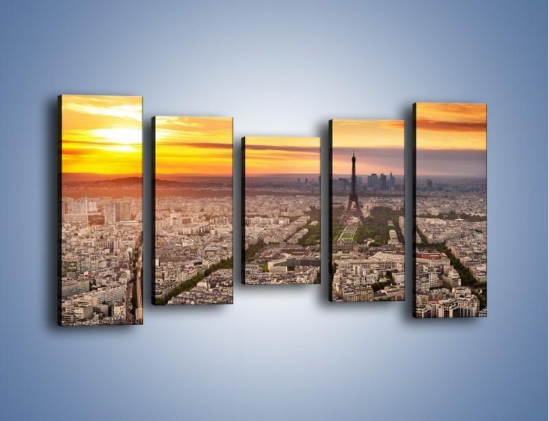 Obraz na płótnie – Zachód słońca nad Paryżem – pięcioczęściowy AM420W2