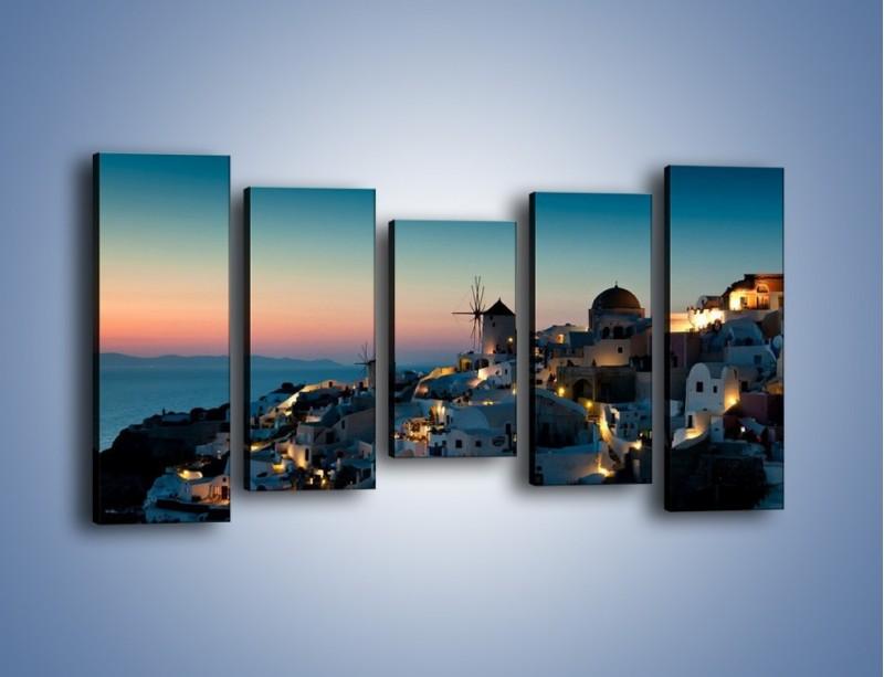 Obraz na płótnie – Domki na Santorini po zmierzchu – pięcioczęściowy AM421W2