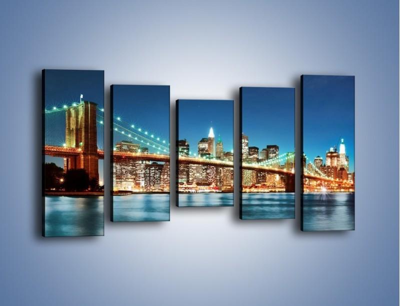 Obraz na płótnie – Most Brookliński na tle Nowego Jorku – pięcioczęściowy AM428W2