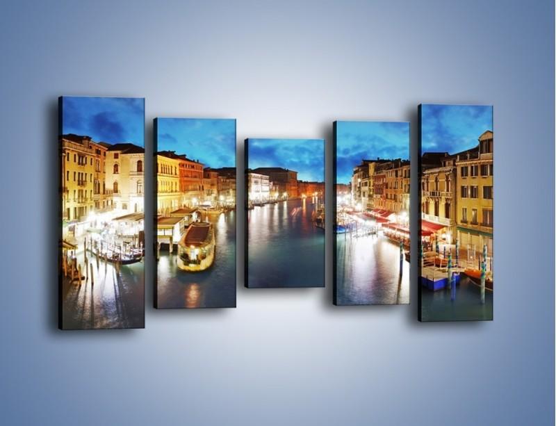 Obraz na płótnie – Światła Wenecji po zmroku – pięcioczęściowy AM430W2