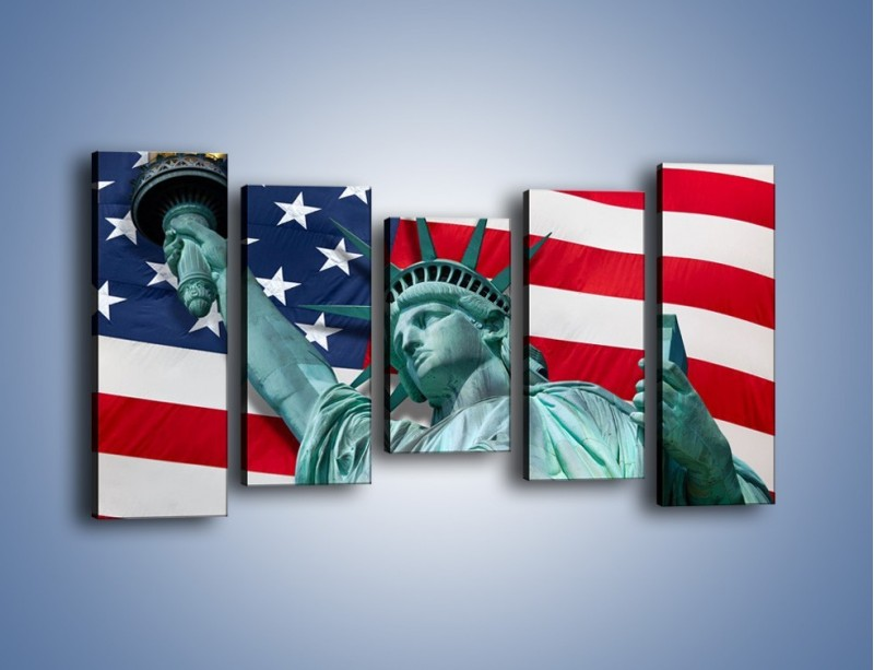 Obraz na płótnie – Statua Wolności na tle flagi USA – pięcioczęściowy AM435W2