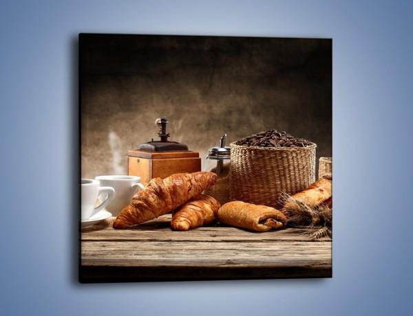 Obraz na płótnie – Rogal idealny do kawy – jednoczęściowy kwadratowy JN670