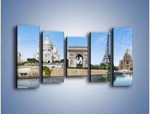 Obraz na płótnie – Atrakcje turystyczne Paryża – pięcioczęściowy AM448W2
